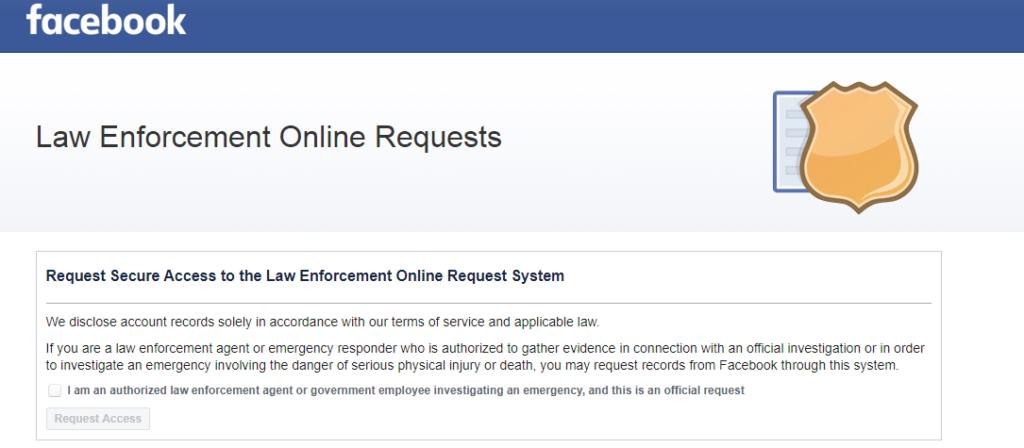 How to access Facebook Law Enforcement Online Request Portal